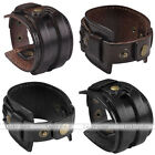 Mens Genuine Leather Gothic Punk Braid Bangle Bracelet Wristband Cuff Adjustable