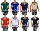Floral Embroidered Embroidery Stretch Tunic T-Shirt Top Tee Blouse L Xl 2Xl 3Xl