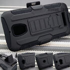 Black Hybrid Car Armor Impact Hard Rugged Holster Case Belt Clip Stand Cover