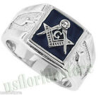 Mens Square Blue Masonic Mason Silver Stainles Steel Ring