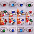 Party's Jewelry Fancy Unisex Four-Color Gemstones Silver Ring Size N P R T V Y