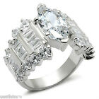 Marquise Cut Queen 2.65 Karat CZ Sterling Silver .925 Ladies Ring Size 6 and 10