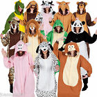 ADULT ANIMAL PLAYSUIT ONESIE PYJAMAS FANCY DRESS COSTUME ZOO FARM FUNNY ONESIES