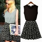 Chic Flower Sleeveless Pleated Womens A Line Tunic Mini Dress Sundress Princess