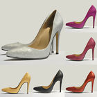 WOMENS HIGH HEEL POINTED CORSET STYLE WORK PUMPS COURT SHOES Glitter ST302 UK2-9