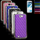 Hybrid Rugged Rubber Bling Crystal Case Cover For Samsung Galaxy Note 2 II N7100
