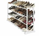 4 Tier Black White Shoe Heels Storage Organiser Stand Rack Holds 20 Pairs