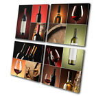 food Kitchen Wine collage drink  MULTI CANVAS WALL ART Picture Print VA