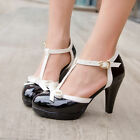 Womens T Strap Bar Lolita Bow High Heel Patent Leather Mary Jane Shoes Plus Size