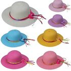 Foldable Straw Wide Brim Sun Hat Girls Kids Children Ribbon Bow Beach Summer Cap