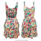 WOMENS LADIES VINTAGE PUFFY FRILL FLORAL PRINT STRAPPY SWING SKATER SKIRT DRESS