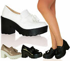 Ladies Women Retro Chunky Cleated Platform Sole Loafers Boots Shoes Size