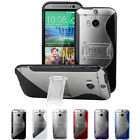 S-Line Flexible TPU Gel Skin Cover Hard Stand Case For HTC One M8/M8 for Windows