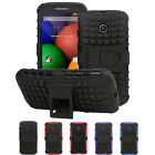 Heavy Duty Dual Layer Grip Hard Cover Case with Kickstand For Motorola Moto E