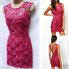 Limited LIPSY Low Back Berry Floral Lace Summer Cocktail Party Bodycon Dress