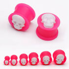 Pair 6-16MM Cameo Skull Flexible Pink Saddle Silicone Ear Tunnels Plug Earlet