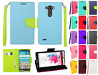 For LG G3 Premium Leather 2 Tone Wallet Case Pouch Flip Phone Cover Accessory