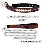 Houston Texans Leather Dog Collar Officially Licensed NFL Pet Leash Lead