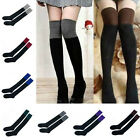 2pcs Women's Lady Two Tone Thigh High Over Knee Socks Leg Warmer Stocking Colors