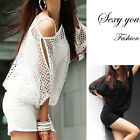 Womens Batwing Sleeve Hollow Sexy Slim Mini Vest Skirt Summer Casual Party Dress