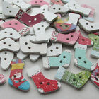E583 Cute Wooden Santa Christmas Socks Buttons Doll Sewing Craft 50/250pcs