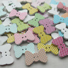 E582 Cute Wooden Bow Buttons Doll Sewing Craft 3CM Appliques Wholesale 50/250pcs
