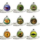 """Reptile Eye Glass Round Dome Metal Bezel Pendant 1"""" 25mm with Ball Chain"""