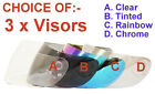 3 VISORS FOR FULL FACE MOTORCYCLE HELMET CHOICE- CLEAR, TINTED, RAINBOW, CHROME