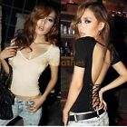 Sexy Womens Deep V neck Bandage Party Backless Club Wear Slimming T-shirt D540