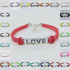 Handmade DIY LOVE Charms Beads Leather Cord adjustable Bracelet Pick colors B004