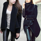 Vogue Woolen Winter Warm Zipper PU Edge Trench Outdoor Coat Jacket Outwear-Good