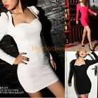 Sexy Womens evening Square Neck puff Long sleeve Cocktail mini Pencil Dress 545