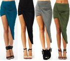 Asymmetrical solid high low wrapped elastic waist draped cut out skirt UK 6-16