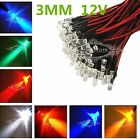 Wholesale Prewired LED 3mm 12V 20CM Warm Red Green Blue Yellow UV Pink Orange