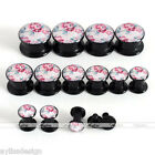 Pair Fashion Acrylic Screw Ear Plugs Flesh Tunnels Ear Flower Expander Stretcher