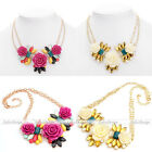 Womens Alloy Crystal Enamel Flower Cluster Chunky Bib Statement Chain Necklace