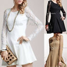 Elegent Lady Slim Waist Lace Long Sleeve Pleated Mini Dress Skirt Cocktail Party