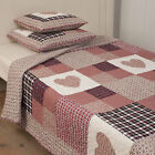 HEART*Tagesdecke*Herzen*Shabby*Plaid*Landhausstil*Kariert*Country Style*Patch
