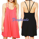 HOT Sexy Women Cotton Summer Backless Spaghetti Strap Cocktail Party Mini Dress