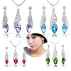 Set Shining Silver Dangle Czech Crystal Teardrop Pendant Necklace Earring Gift