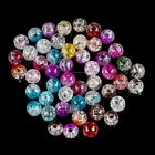 8mm Jewelry Making DIY Round Glass Loose Hole Crackle Beads 50 pcs Multi-color