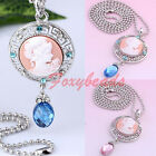 """1X Rhinestone Resin Round Cameo Beauty Head Pendant Chain Necklace 26"""" Chic Gift"""