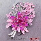 Stunning Rhinestone Crystal Silver Tone Brooches Pin Pretty Flower Wedding Party