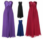 Formal Strapless Chiffon Sequin Beaded Frilled Prom Ball Evening Dress UK 8-20