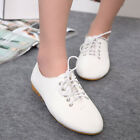 Ladies Women Lace Up White Black Oxford Sole Flat Casual Loafers Leather Shoes
