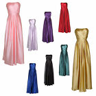 Long Strapless Bandeau Satin Formal Ballgown Prom Evening Dress UK sizes 8 - 22