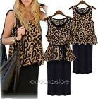 New Style Leopard Round Neck Blouse Tank Sleeveless Smock with Belt Skirt Dress