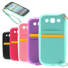 For Samsung S3/S4 Note 2/3 TPU+PU Leather Case With Card Holder Slot/ Hand Strap