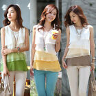 Multi-Layer Fashion Ladies Flouncing Sleeveless Chiffon Vest Top Blouse