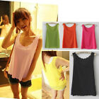 Womens Sleeveless Ladies Petal Wave Scallop Edge Tee Shirt Blouse Vest Tank Top